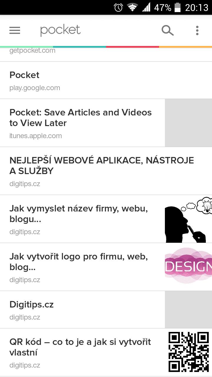 Pocket - přehled článků