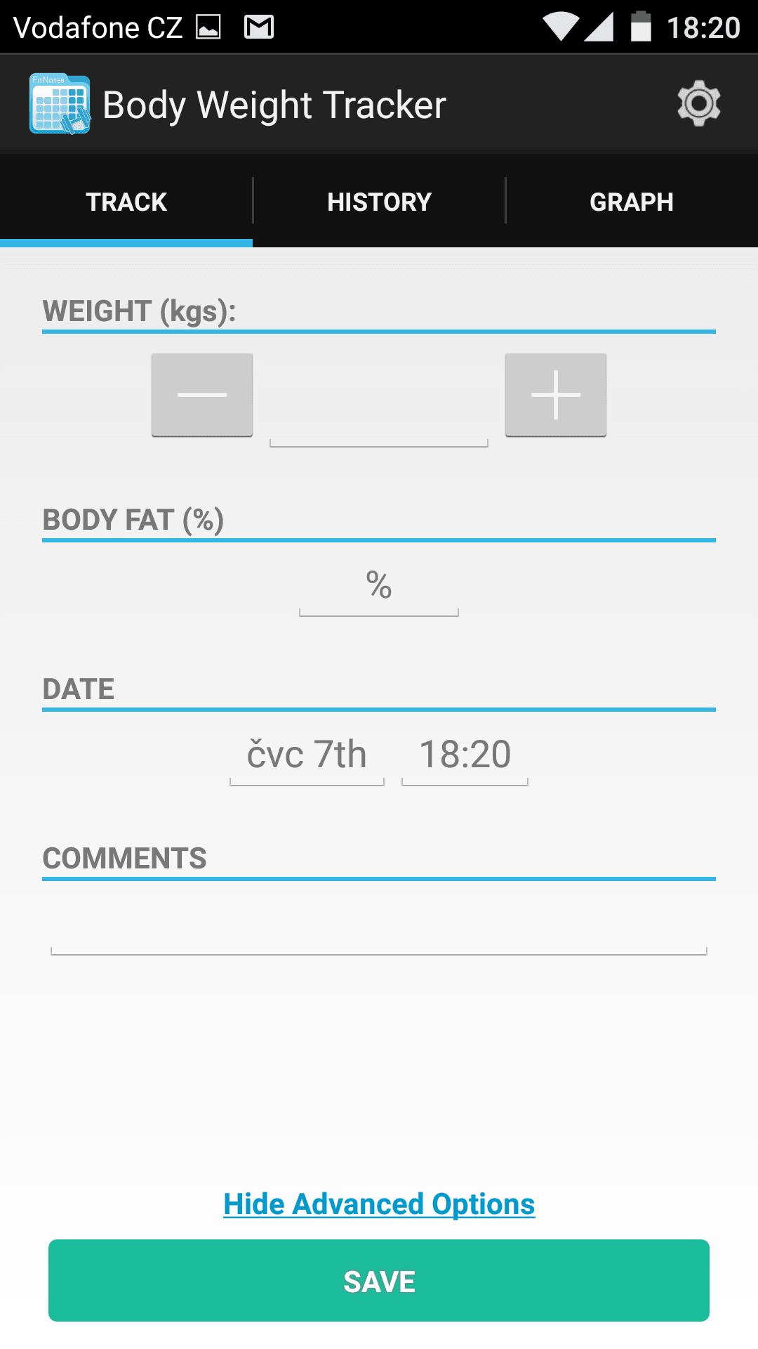 Sledování hmotnosti