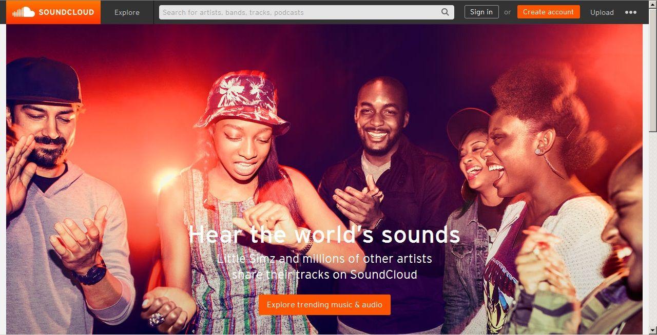 Soundcloud - domovská stránka