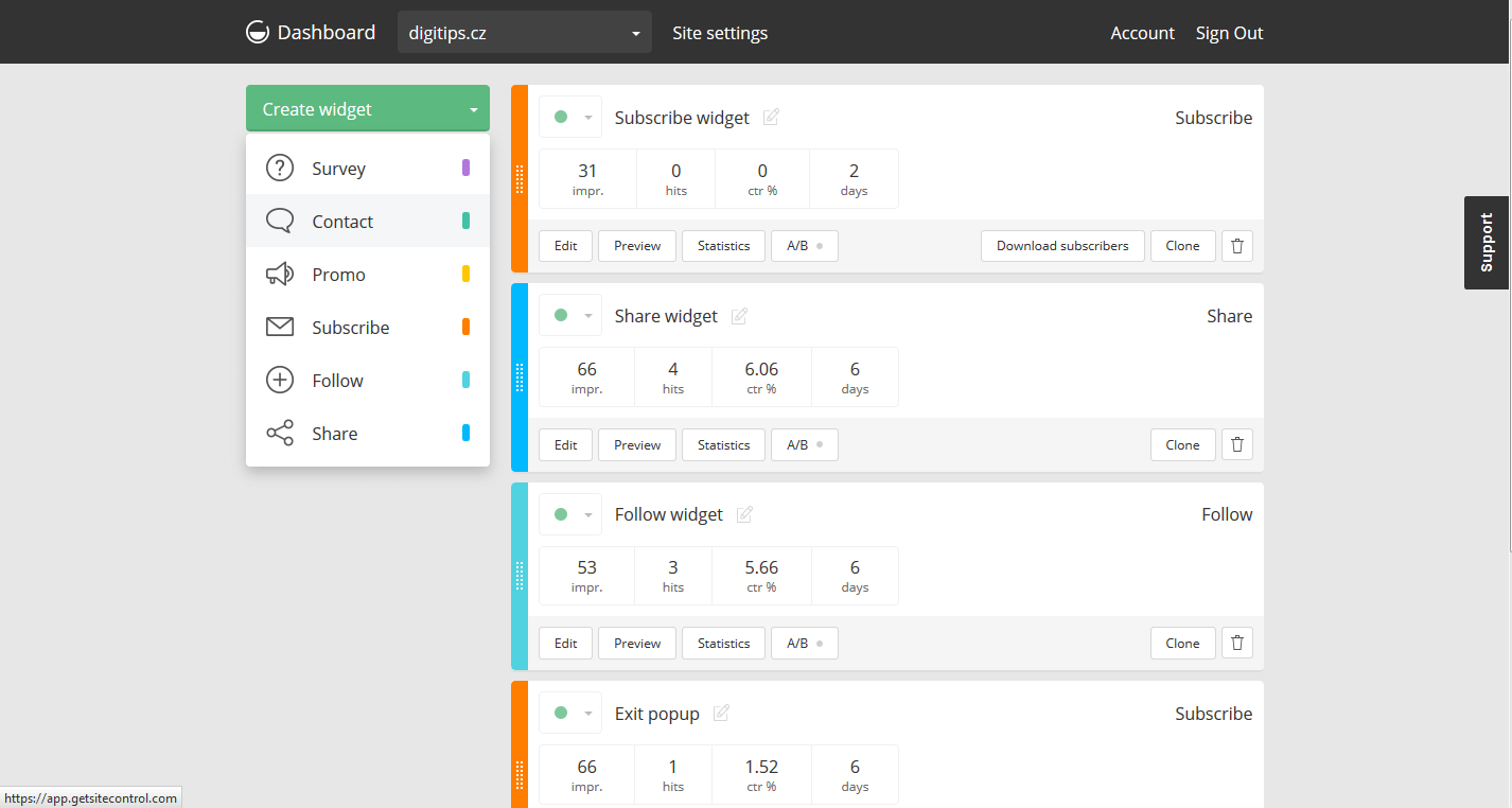 Přidat widget - administrace/nástěnka (getsitecontrol)