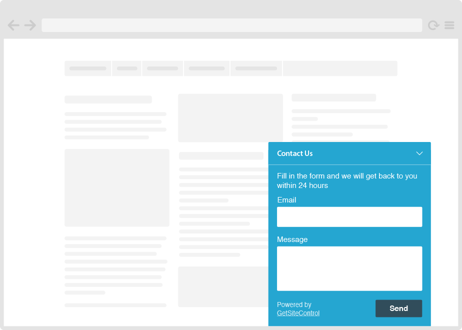 Website contact form widget plugin (free)