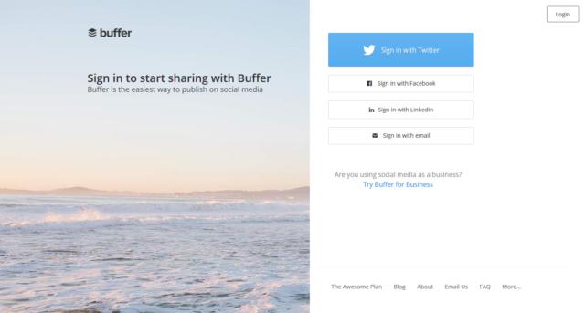 Buffer - přihlášení/registrace