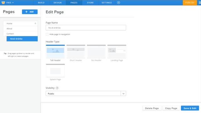 Weebly - vytvoření nové stránky/úprava menu