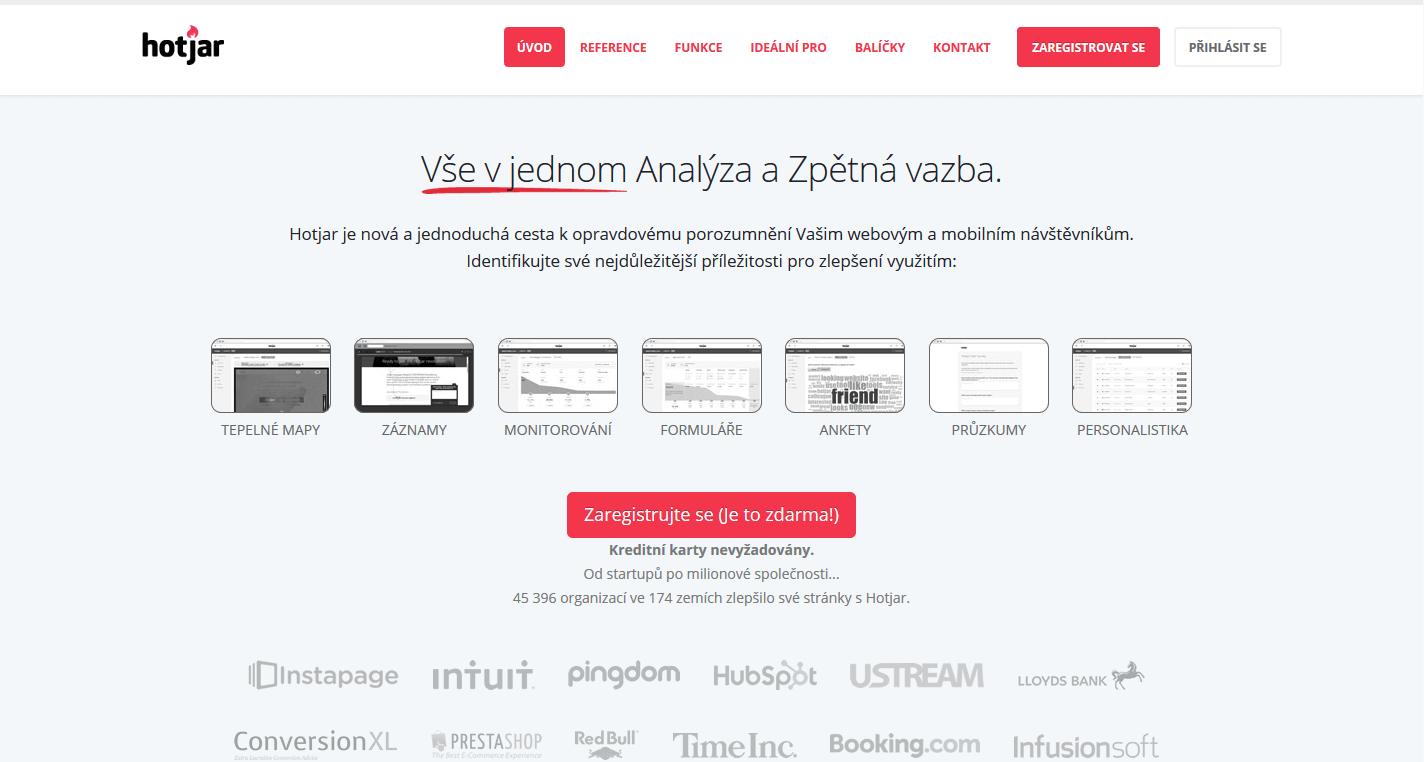 Hotjar - heatmapa na web pro wordpress zdarma