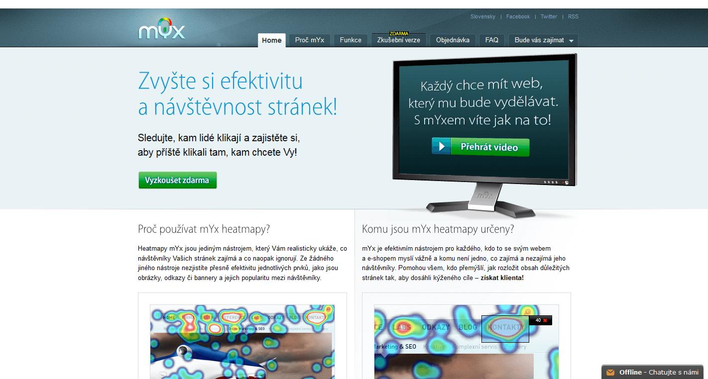 Myx - teplotní mapa webu