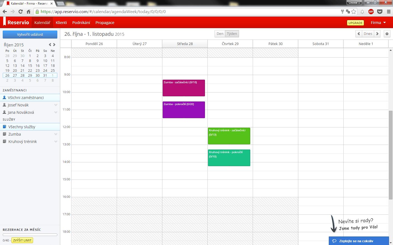 Rezervační kalendář (Reservio)