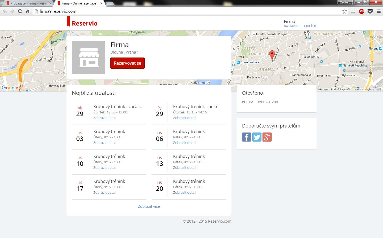 Reservio - webová stránka firmy