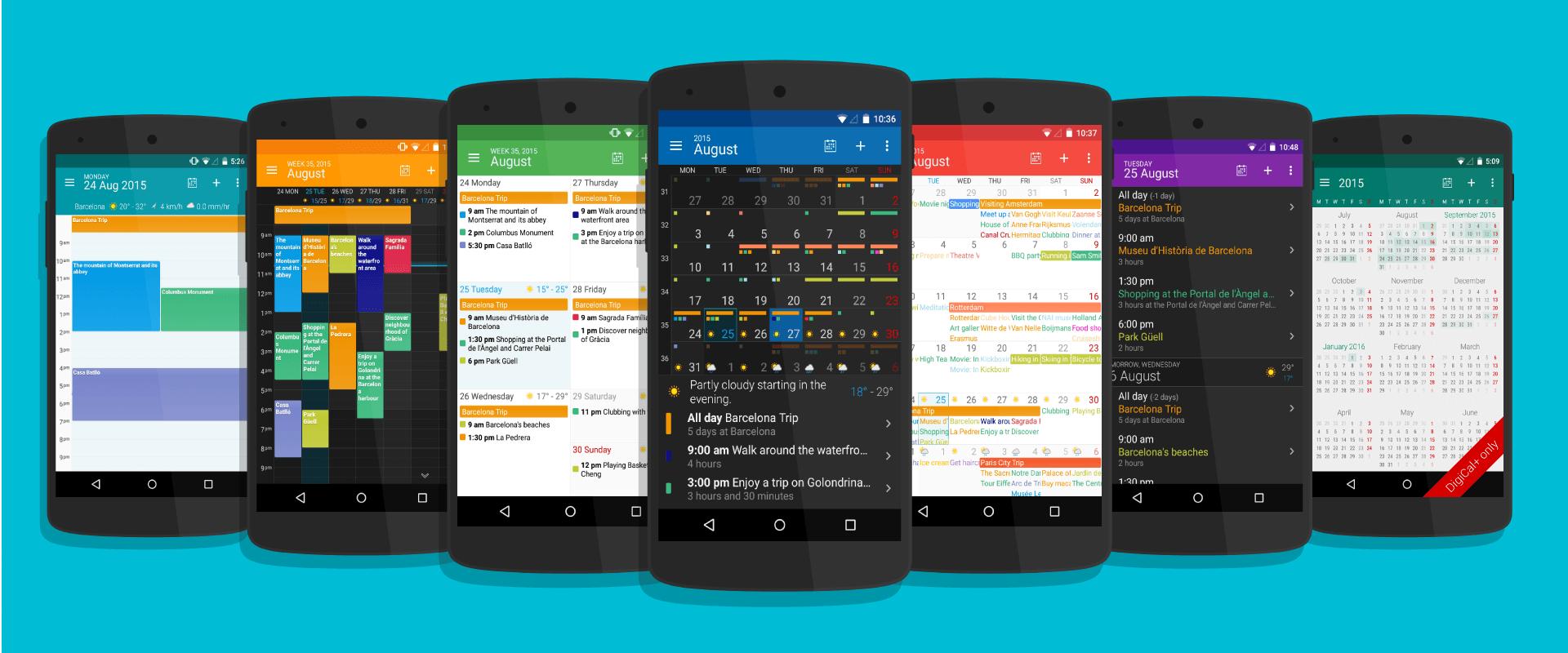 Kalendář DigiCal pro Android - jednotlivá zobrazení