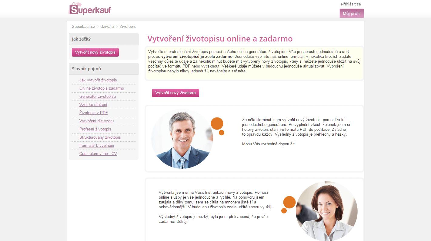 Generátor životopisu - ke stažení zdarma v PDF