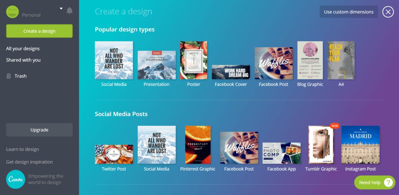 Canva - tvorba grafiky pro sociální sítě
