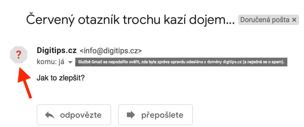 Nedůvěryhodnost na Gmailu