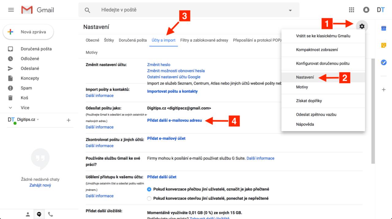 Odesílání z Gmailu 1