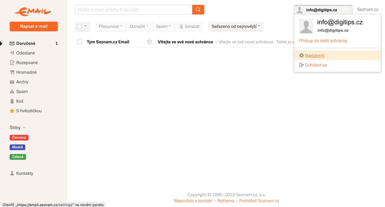 Seznam email na vlastní doméně 13