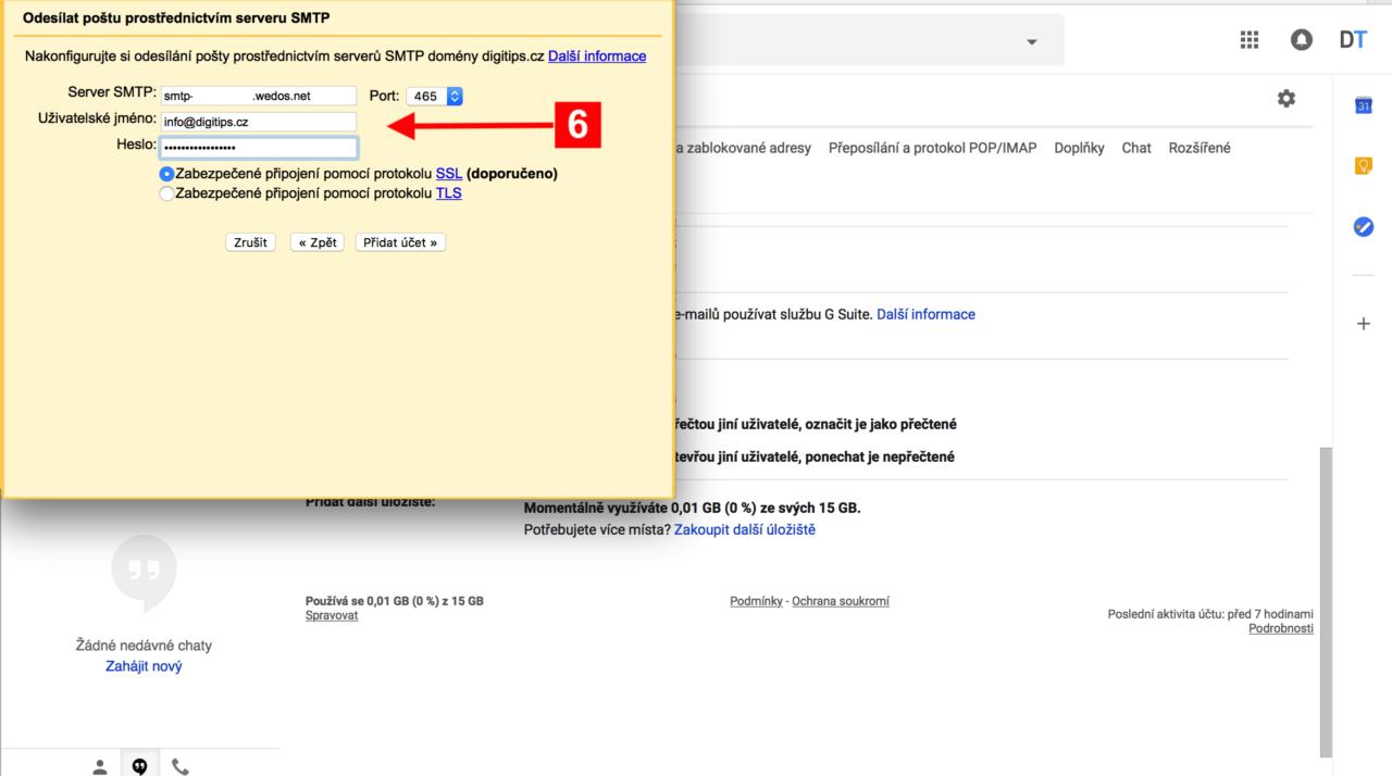 Odesílání z Gmailu 3 - Wedos